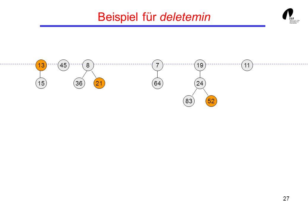 27 Beispiel für deletemin 1913458 3621 24 15 8352 117 64