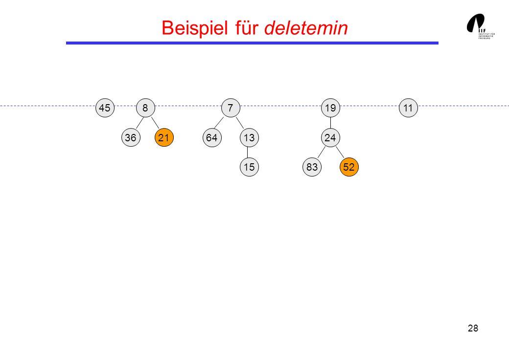 28 Beispiel für deletemin 19 13 458 3621 24 158352 117 64