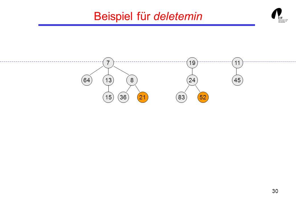 30 Beispiel für deletemin 19 13458 3621 24 158352 117 64