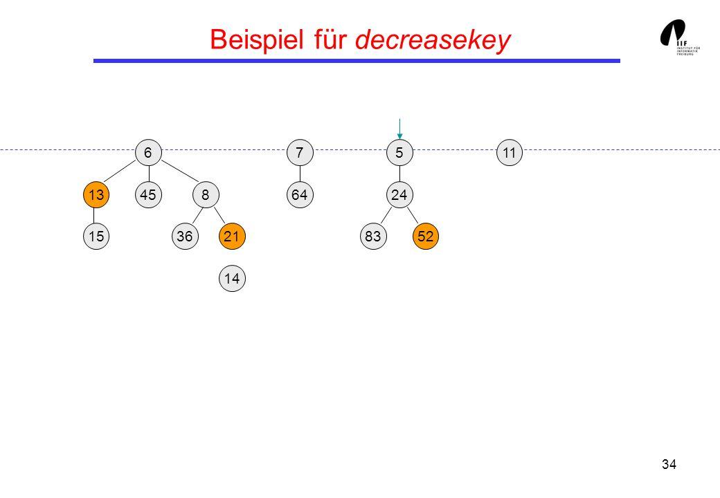 34 Beispiel für decreasekey 65 13458 3621 24 158352 117 64 14