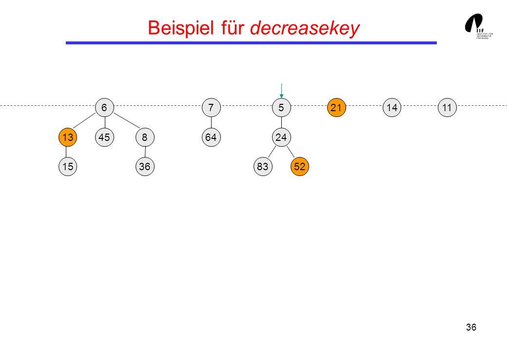 36 Beispiel für decreasekey 65 13458 36 21 24 158352 117 64 14