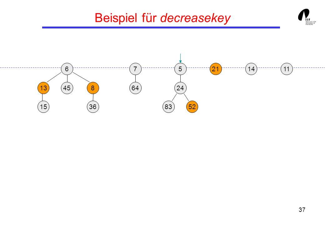 37 Beispiel für decreasekey 65 13458 36 21 24 158352 117 64 14