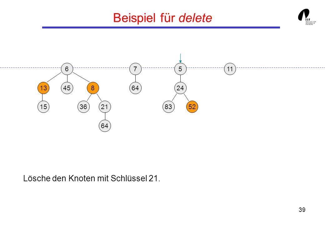 39 Beispiel für delete 65 13458 3621 24 158352 117 64 Lösche den Knoten mit Schlüssel 21.