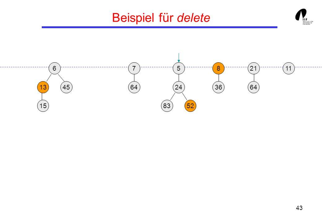 43 Beispiel für delete 65 1345 8 36 21 24 158352 117 64