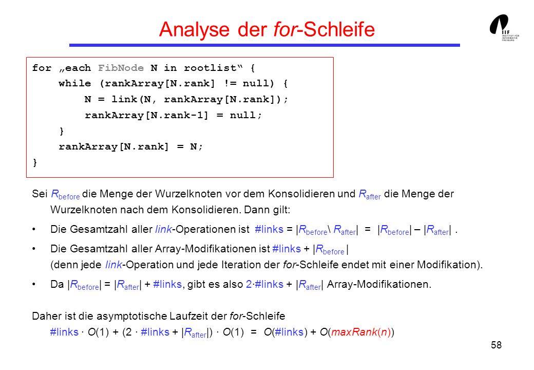 58 Analyse der for-Schleife for each FibNode N in rootlist { while (rankArray[N.rank] != null) { N = link(N, rankArray[N.rank]); rankArray[N.rank-1] = null; } rankArray[N.rank] = N; } Sei R before die Menge der Wurzelknoten vor dem Konsolidieren und R after die Menge der Wurzelknoten nach dem Konsolidieren.