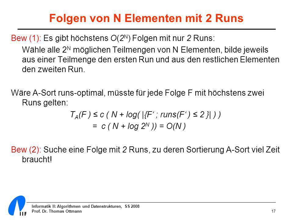Informatik II: Algorithmen und Datenstrukturen, SS 2008 Prof. Dr. Thomas Ottmann17 Folgen von N Elementen mit 2 Runs Bew (1): Es gibt höchstens O(2 N