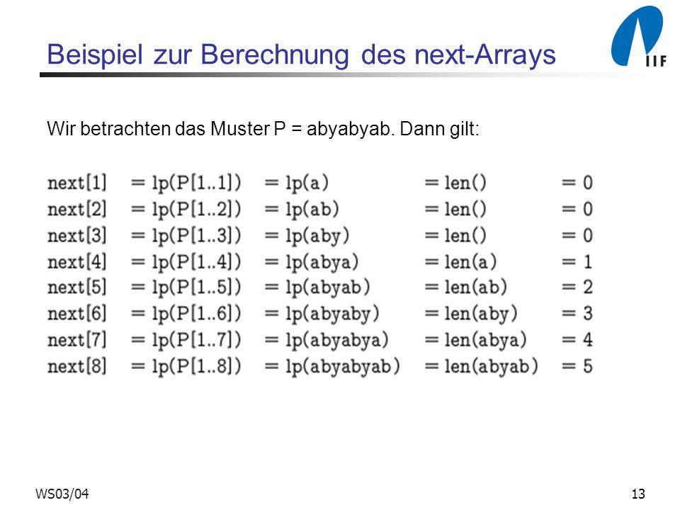 13WS03/04 Beispiel zur Berechnung des next-Arrays Wir betrachten das Muster P = abyabyab. Dann gilt: