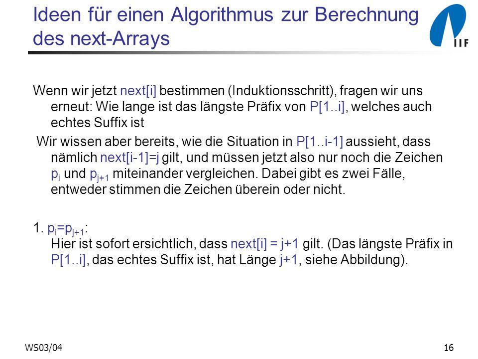 16WS03/04 Ideen für einen Algorithmus zur Berechnung des next-Arrays Wenn wir jetzt next[i] bestimmen (Induktionsschritt), fragen wir uns erneut: Wie