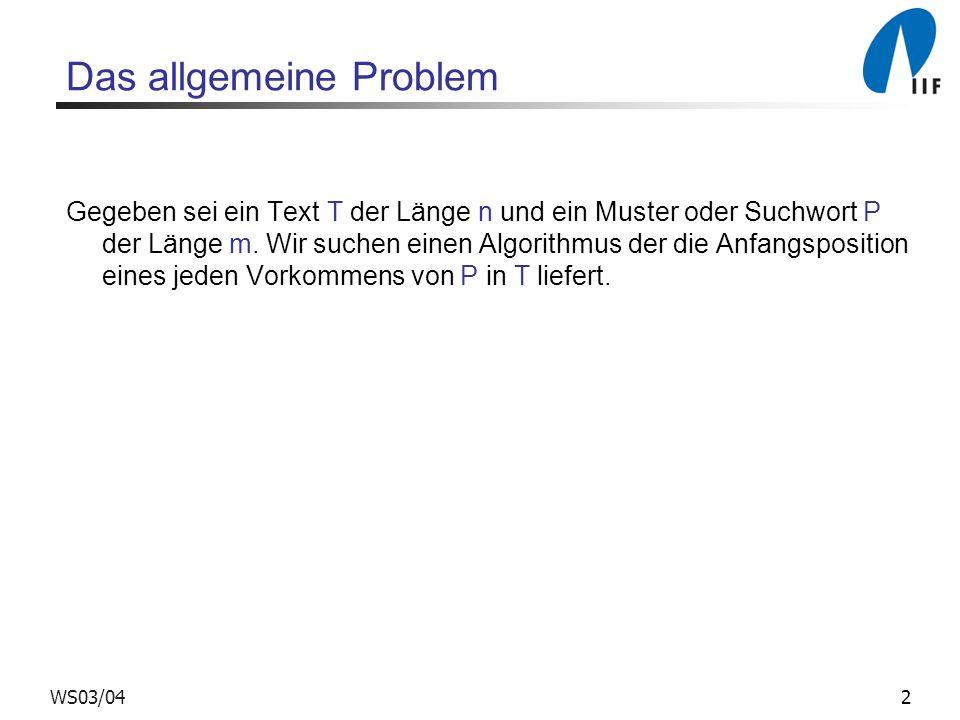 2WS03/04 Das allgemeine Problem Gegeben sei ein Text T der Länge n und ein Muster oder Suchwort P der Länge m. Wir suchen einen Algorithmus der die An