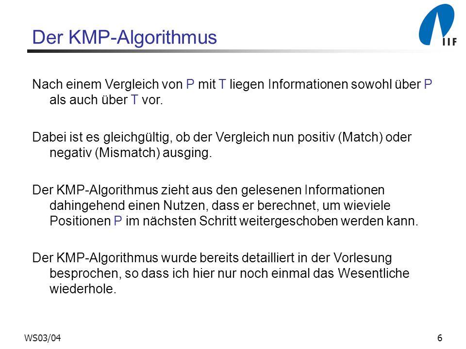 6WS03/04 Der KMP-Algorithmus Nach einem Vergleich von P mit T liegen Informationen sowohl über P als auch über T vor. Dabei ist es gleichgültig, ob de