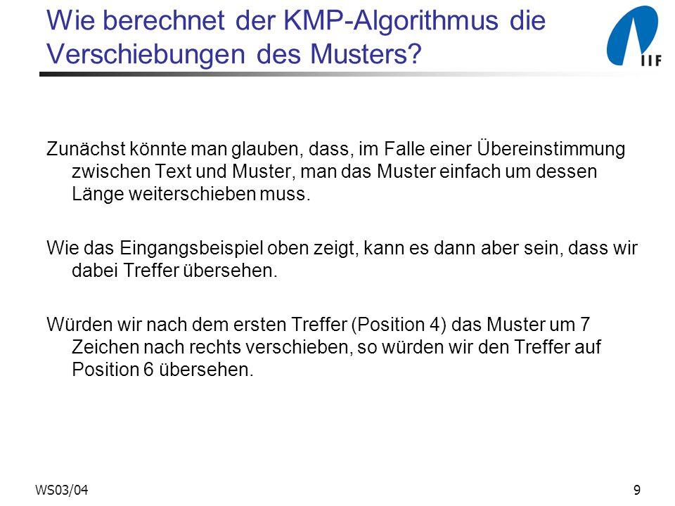 9WS03/04 Wie berechnet der KMP-Algorithmus die Verschiebungen des Musters? Zunächst könnte man glauben, dass, im Falle einer Übereinstimmung zwischen