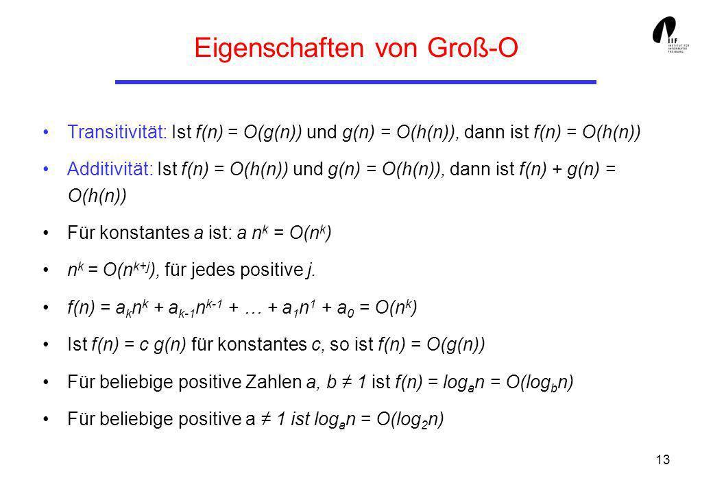 13 Eigenschaften von Groß-O Transitivität: Ist f(n) = O(g(n)) und g(n) = O(h(n)), dann ist f(n) = O(h(n)) Additivität: Ist f(n) = O(h(n)) und g(n) = O