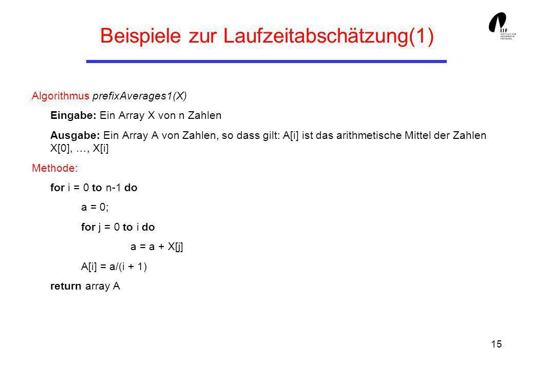 15 Beispiele zur Laufzeitabschätzung(1) Algorithmus prefixAverages1(X) Eingabe: Ein Array X von n Zahlen Ausgabe: Ein Array A von Zahlen, so dass gilt