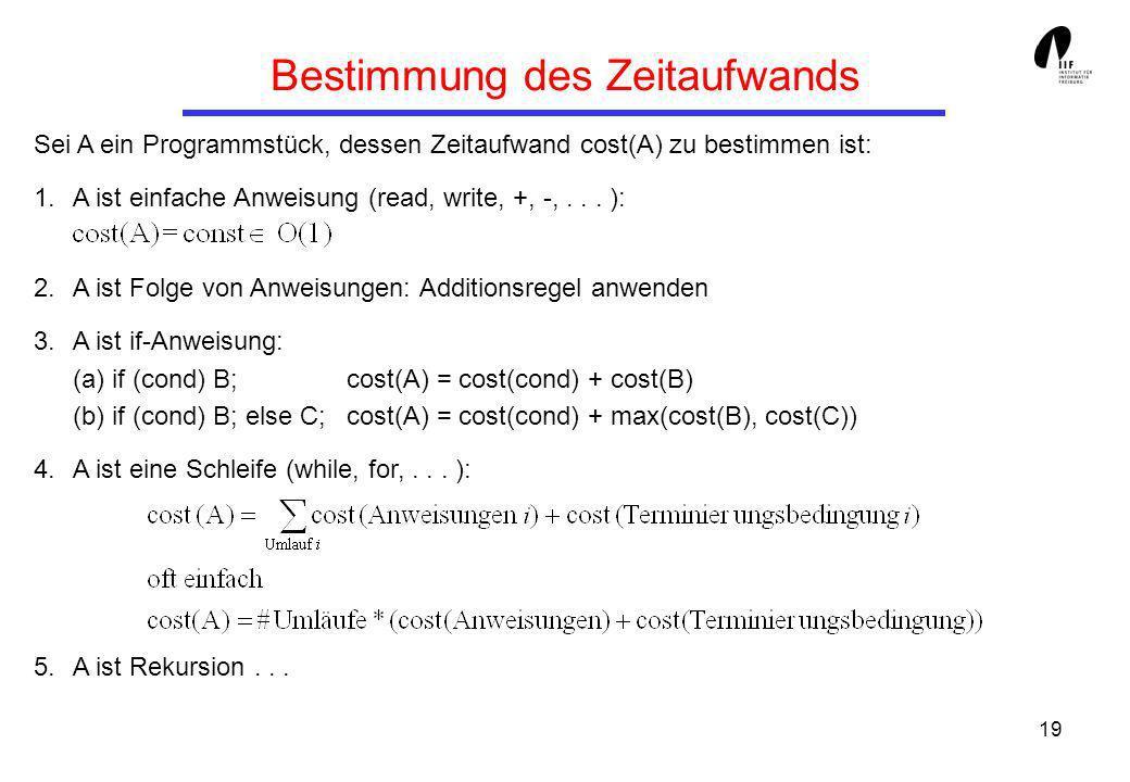19 Bestimmung des Zeitaufwands Sei A ein Programmstück, dessen Zeitaufwand cost(A) zu bestimmen ist: 1.A ist einfache Anweisung (read, write, +, -,...