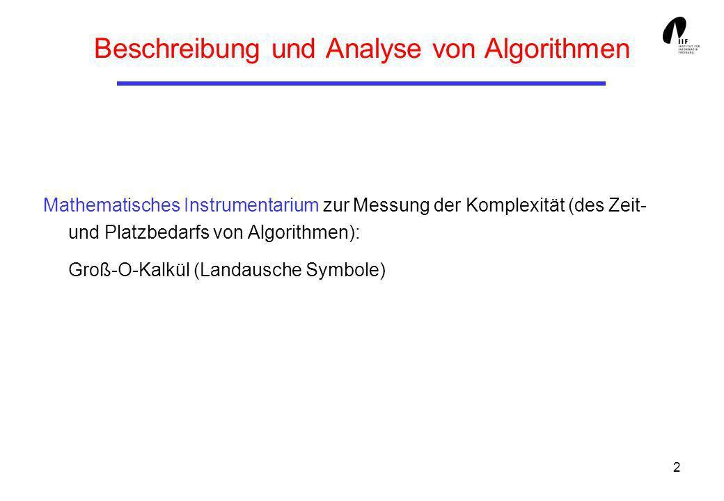 2 Beschreibung und Analyse von Algorithmen Mathematisches Instrumentarium zur Messung der Komplexität (des Zeit- und Platzbedarfs von Algorithmen): Gr