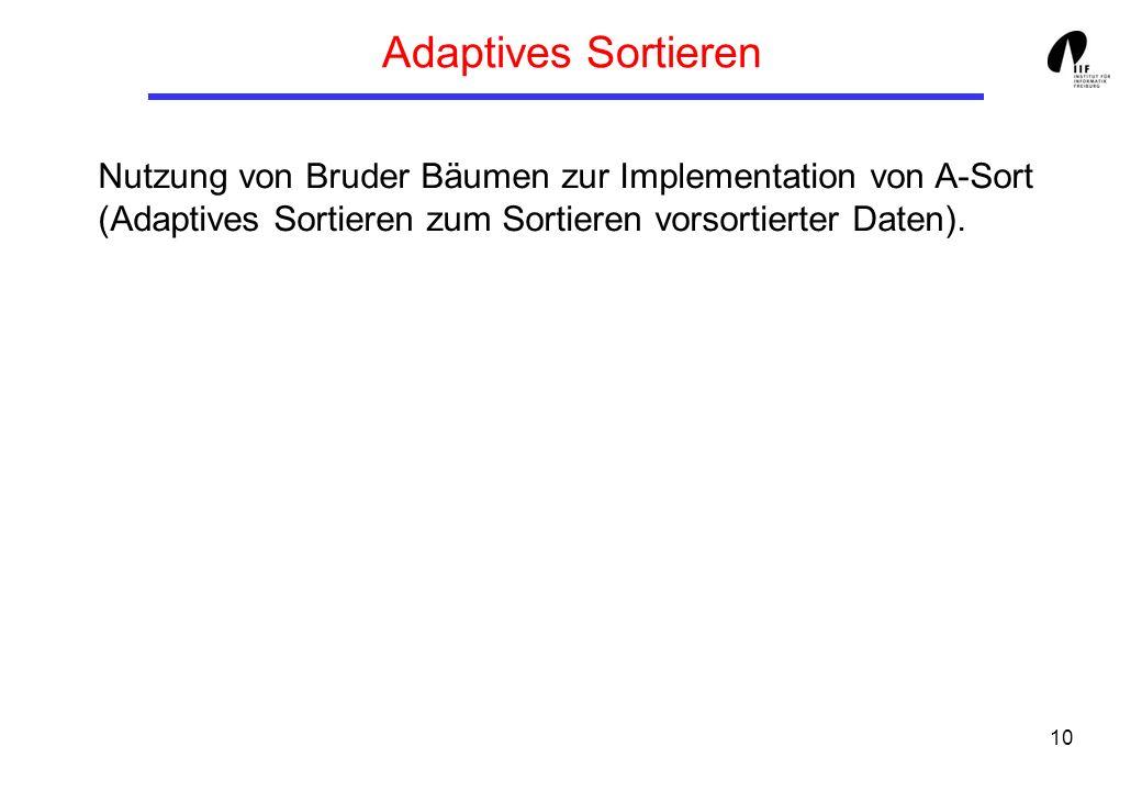 10 Adaptives Sortieren Nutzung von Bruder Bäumen zur Implementation von A-Sort (Adaptives Sortieren zum Sortieren vorsortierter Daten).