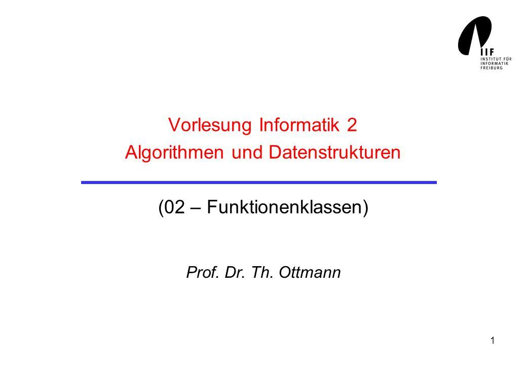 1 Vorlesung Informatik 2 Algorithmen und Datenstrukturen (02 – Funktionenklassen) Prof. Dr. Th. Ottmann