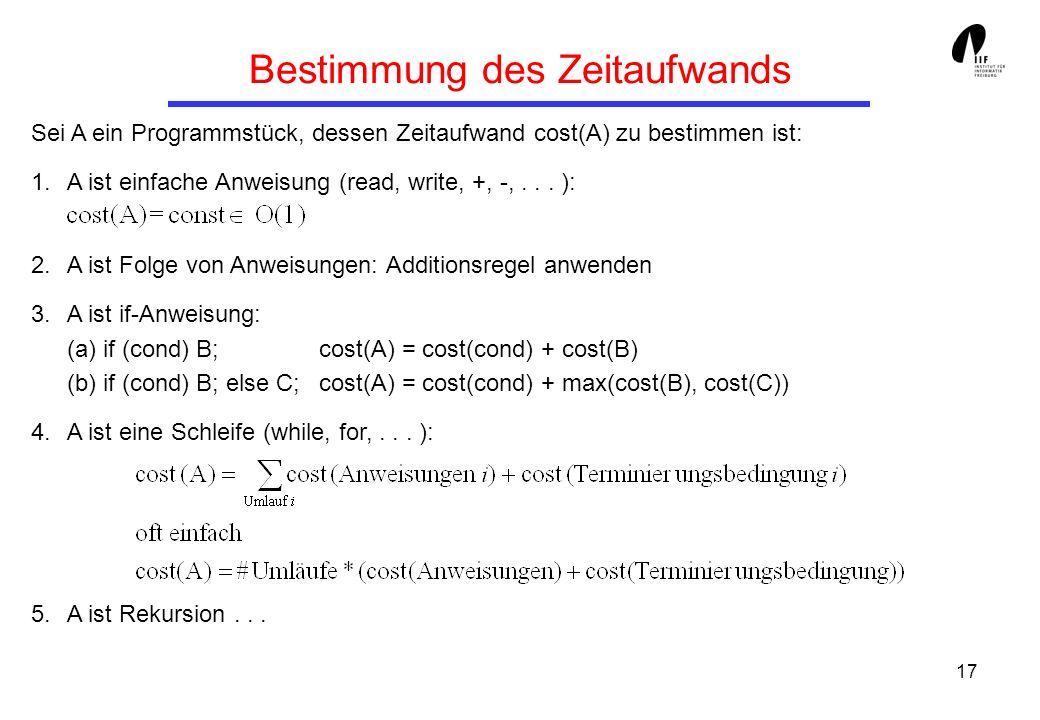 17 Bestimmung des Zeitaufwands Sei A ein Programmstück, dessen Zeitaufwand cost(A) zu bestimmen ist: 1.A ist einfache Anweisung (read, write, +, -,...