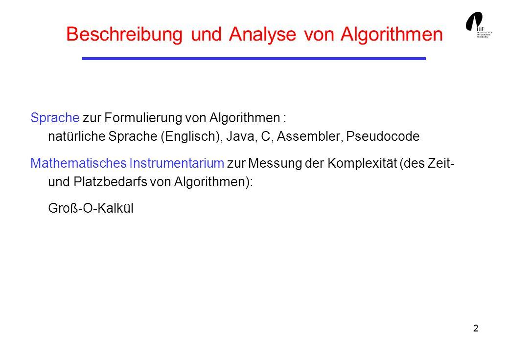 2 Beschreibung und Analyse von Algorithmen Sprache zur Formulierung von Algorithmen : natürliche Sprache (Englisch), Java, C, Assembler, Pseudocode Ma