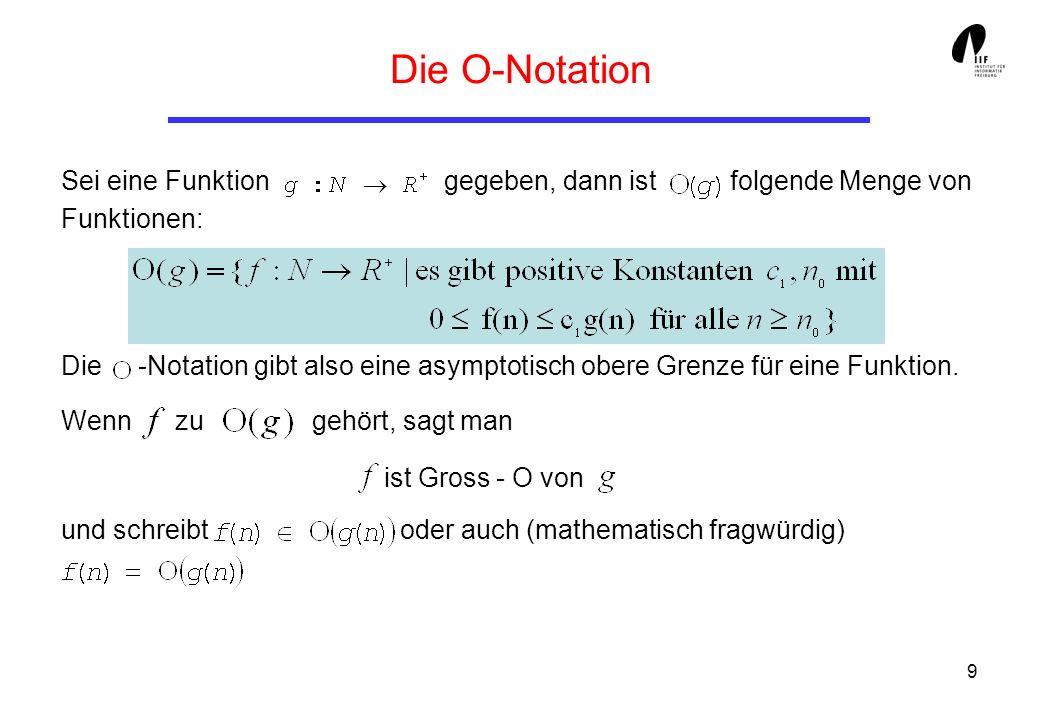 9 Die O-Notation Sei eine Funktion gegeben, dann ist folgende Menge von Funktionen: Die -Notation gibt also eine asymptotisch obere Grenze für eine Fu