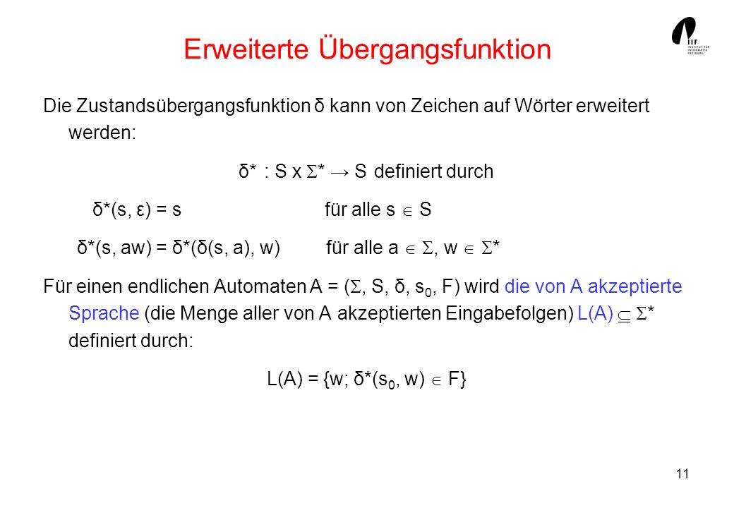 11 Erweiterte Übergangsfunktion Die Zustandsübergangsfunktion δ kann von Zeichen auf Wörter erweitert werden: δ*: S x * S definiert durch δ*(s, ε) = s