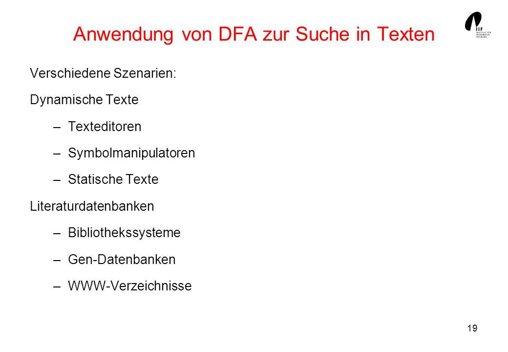 19 Anwendung von DFA zur Suche in Texten Verschiedene Szenarien: Dynamische Texte –Texteditoren –Symbolmanipulatoren –Statische Texte Literaturdatenba
