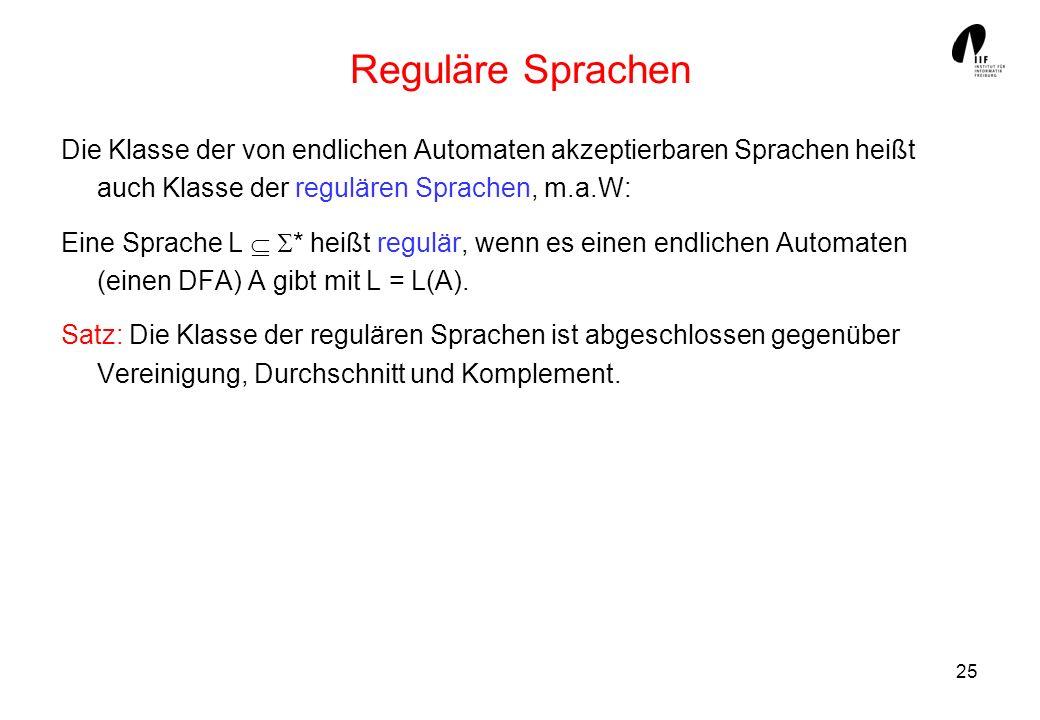 25 Reguläre Sprachen Die Klasse der von endlichen Automaten akzeptierbaren Sprachen heißt auch Klasse der regulären Sprachen, m.a.W: Eine Sprache L *
