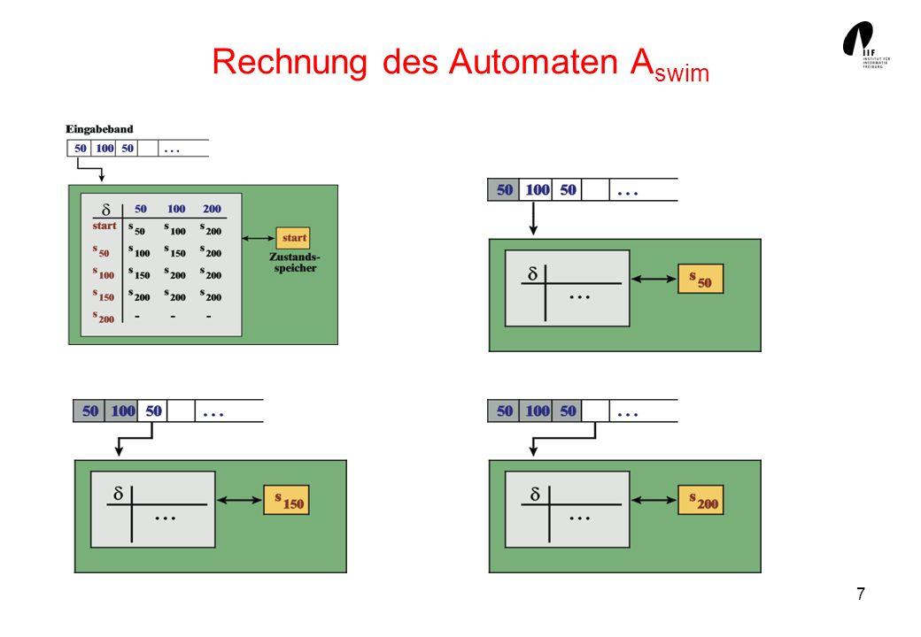 18 Vollständige Automaten Bisher musste die Funktion δ eines DFA nicht total sein.