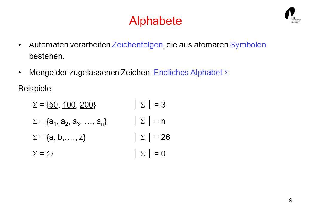 9 Alphabete Automaten verarbeiten Zeichenfolgen, die aus atomaren Symbolen bestehen. Menge der zugelassenen Zeichen: Endliches Alphabet. Beispiele: =
