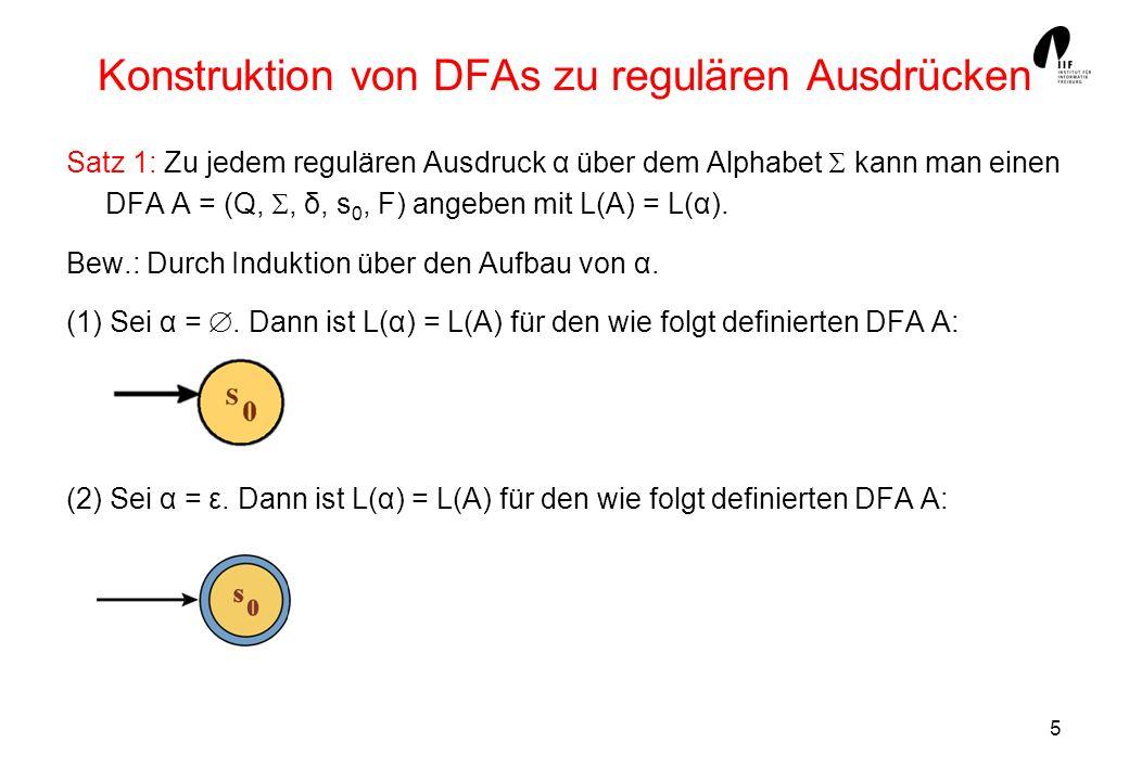5 Konstruktion von DFAs zu regulären Ausdrücken Satz 1: Zu jedem regulären Ausdruck α über dem Alphabet kann man einen DFA A = (Q,, δ, s 0, F) angeben