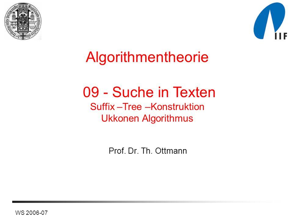 22WS 2006-07 Ukkonens Algorithmus Solange der Algorithmus explizite Erweiterungen ausführt, merkt man sich im Index j* den Index der gerade aktuell ausgeführten expliziten Erweiterung.