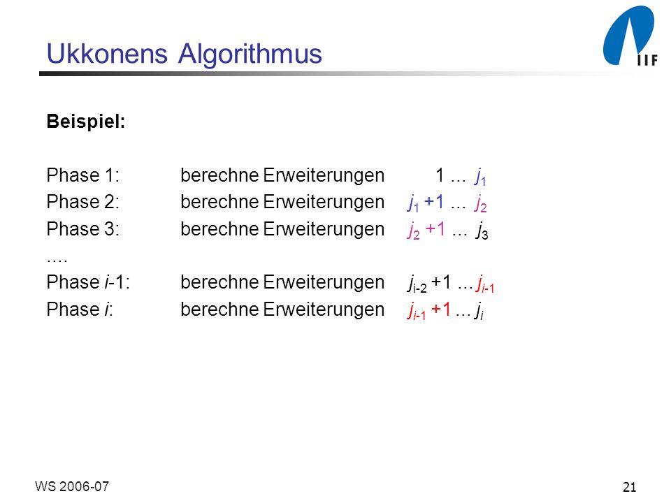 21WS 2006-07 Ukkonens Algorithmus Beispiel: Phase 1: berechne Erweiterungen 1...