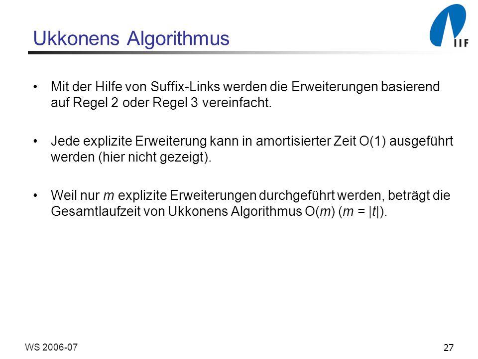 27WS 2006-07 Ukkonens Algorithmus Mit der Hilfe von Suffix-Links werden die Erweiterungen basierend auf Regel 2 oder Regel 3 vereinfacht.