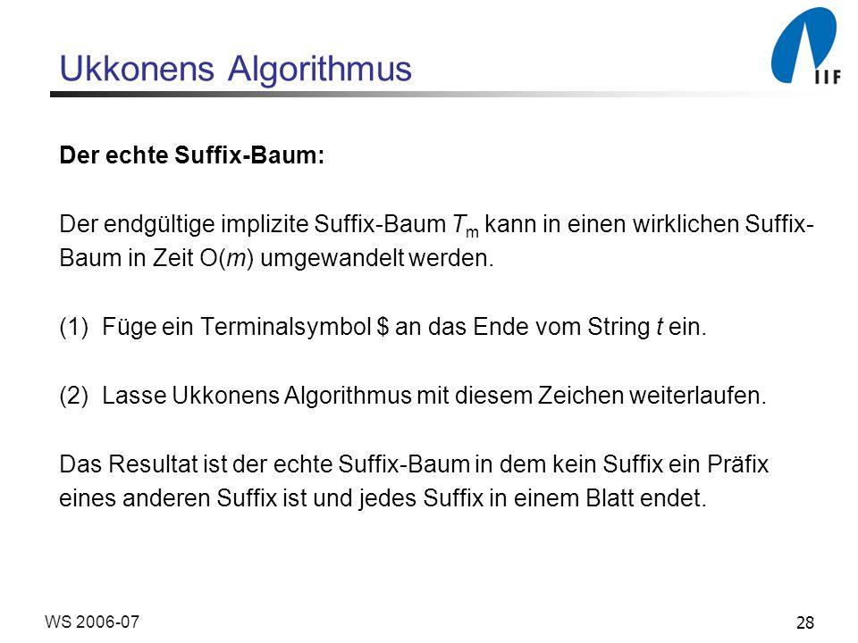 28WS 2006-07 Ukkonens Algorithmus Der echte Suffix-Baum: Der endgültige implizite Suffix-Baum T m kann in einen wirklichen Suffix- Baum in Zeit O(m) umgewandelt werden.