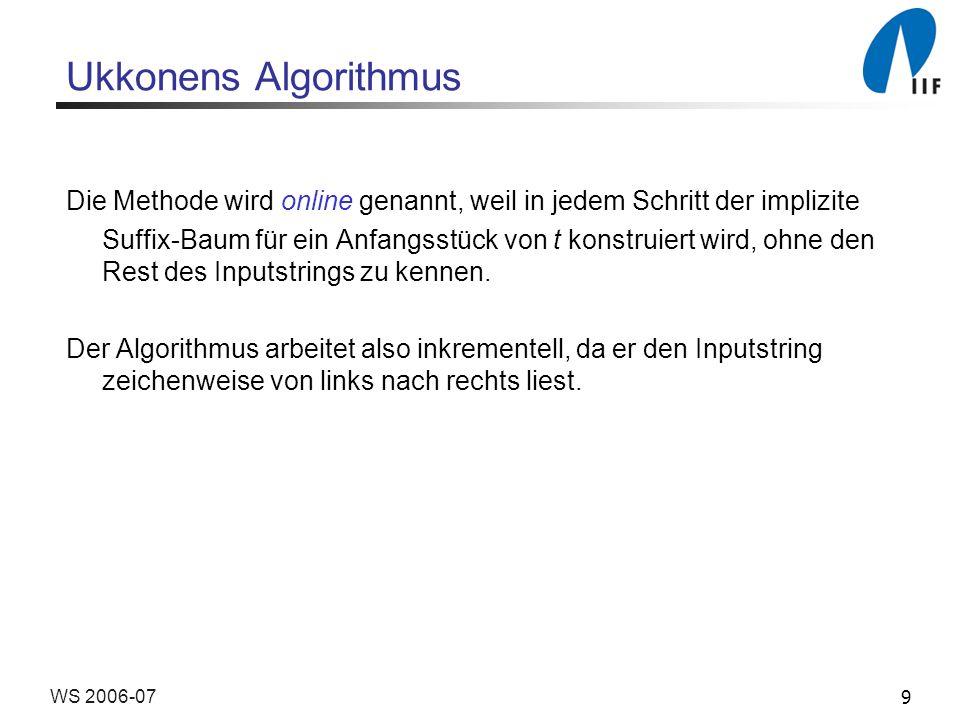 20WS 2006-07 Ukkonens Algorithmus Der Algorithmus kann nun verbessert werden: Die in Phase i+1 auszuführenden Erweiterungen j für j [1, j i ] basieren alle auf Regel 1 und es wird nur konstante Zeit benötigt, um all diese Erweiterungen implizit durchzuführen.