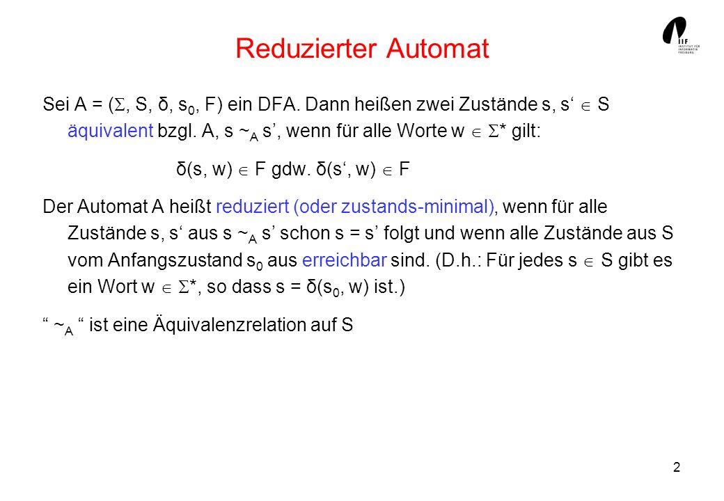 2 Reduzierter Automat Sei A = (, S, δ, s 0, F) ein DFA. Dann heißen zwei Zustände s, s S äquivalent bzgl. A, s ~ A s, wenn für alle Worte w * gilt: δ(