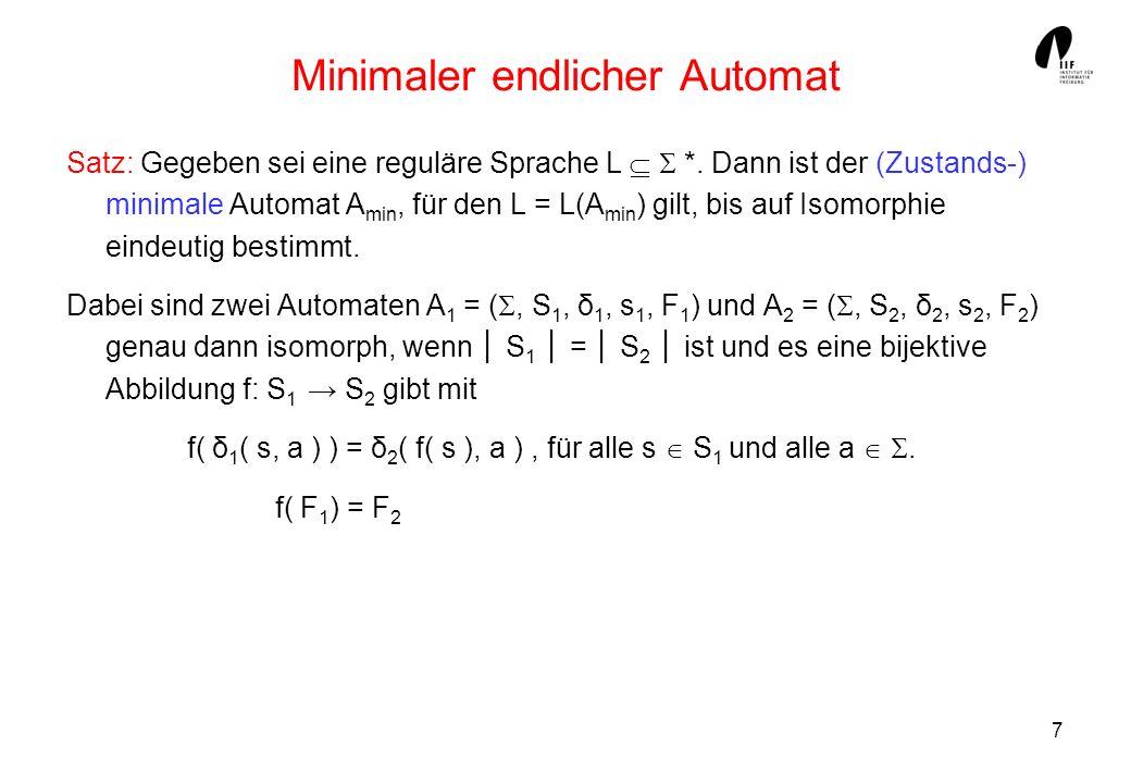 7 Minimaler endlicher Automat Satz: Gegeben sei eine reguläre Sprache L *. Dann ist der (Zustands-) minimale Automat A min, für den L = L(A min ) gilt