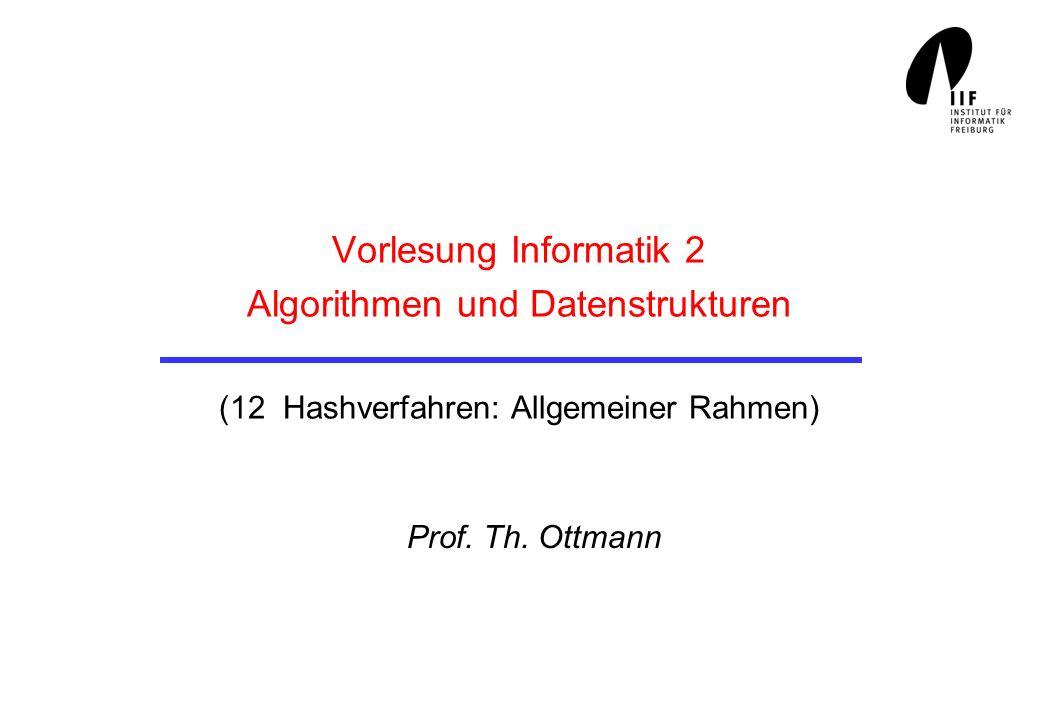 Vorlesung Informatik 2 Algorithmen und Datenstrukturen (12 Hashverfahren: Allgemeiner Rahmen) Prof. Th. Ottmann