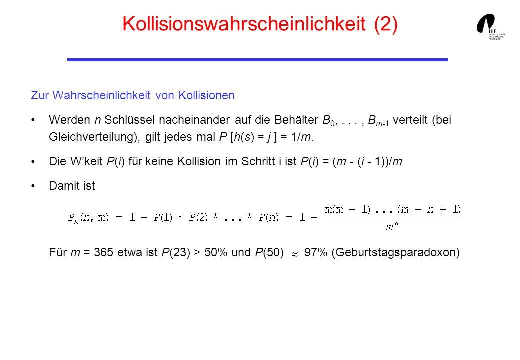 Kollisionswahrscheinlichkeit (2) Zur Wahrscheinlichkeit von Kollisionen Werden n Schlüssel nacheinander auf die Behälter B 0,..., B m-1 verteilt (bei