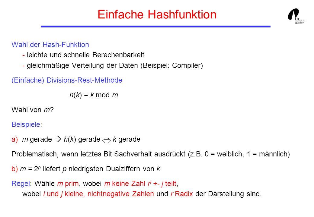Einfache Hashfunktion Wahl der Hash-Funktion - leichte und schnelle Berechenbarkeit - gleichmäßige Verteilung der Daten (Beispiel: Compiler) (Einfache