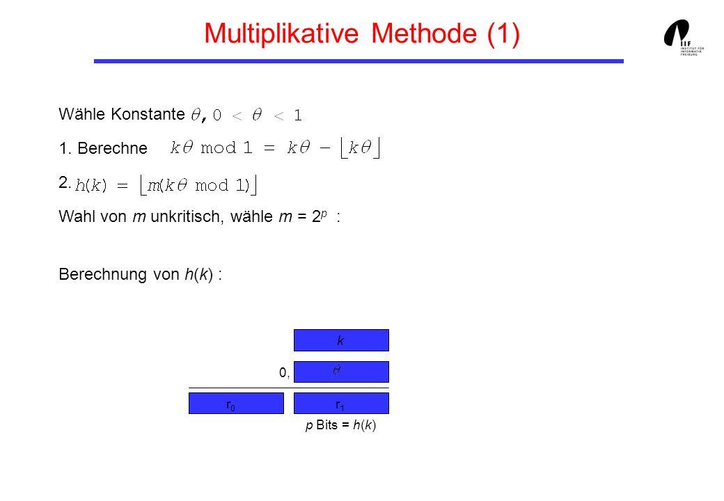 Multiplikative Methode (1) Wähle Konstante 1. Berechne 2. Wahl von m unkritisch, wähle m = 2 p : Berechnung von h(k) : p Bits = h(k) r0r0 r1r1 0, k