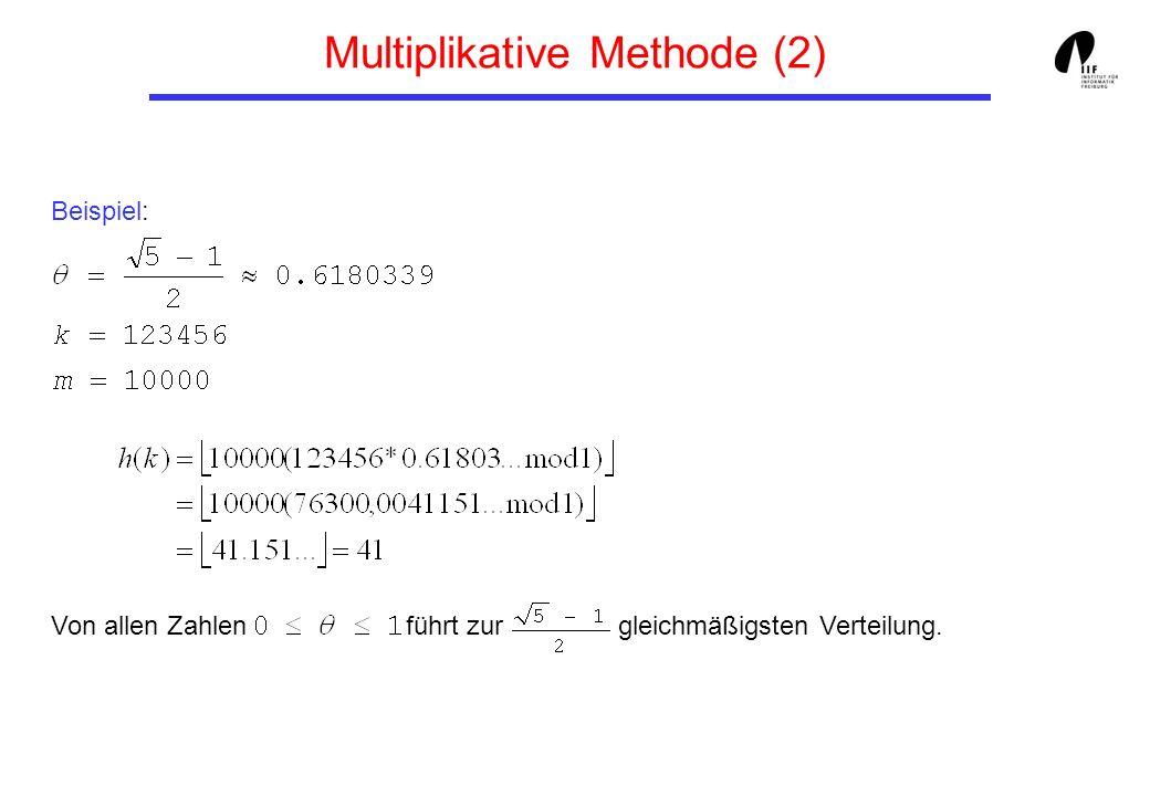 Beispiel: Von allen Zahlen führt zur gleichmäßigsten Verteilung. Multiplikative Methode (2)