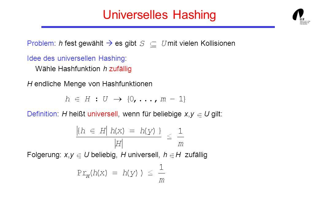Universelles Hashing Problem: h fest gewählt es gibt mit vielen Kollisionen Idee des universellen Hashing: Wähle Hashfunktion h zufällig H endliche Me