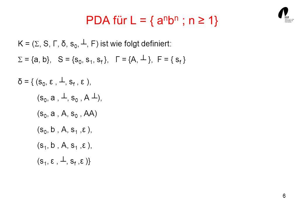 7 Konfigurationsübergänge eines PDA Eine Konfiguration k = (s, w, a) S x * x Γ* enthält den aktuellen Zustand s, das noch zu verarbeitende Suffix w des Eingabewortes, den aktuellen Kellerinhalt α.