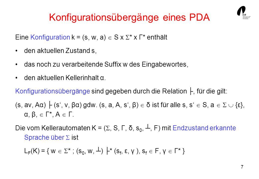 7 Konfigurationsübergänge eines PDA Eine Konfiguration k = (s, w, a) S x * x Γ* enthält den aktuellen Zustand s, das noch zu verarbeitende Suffix w de