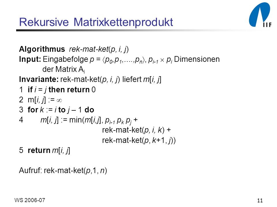 11WS 2006-07 Rekursive Matrixkettenprodukt Algorithmus rek-mat-ket(p, i, j) Input: Eingabefolge p = p 0,p 1,....,p n, p i-1 p i Dimensionen der Matrix A i Invariante: rek-mat-ket(p, i, j) liefert m[i, j] 1 if i = j then return 0 2 m[i, j] := 3 for k := i to j – 1 do 4 m[i, j] := min(m[i,j], p i-1 p k p j + rek-mat-ket(p, i, k) + rek-mat-ket(p, k+1, j)) 5 return m[i, j] Aufruf: rek-mat-ket(p,1, n)