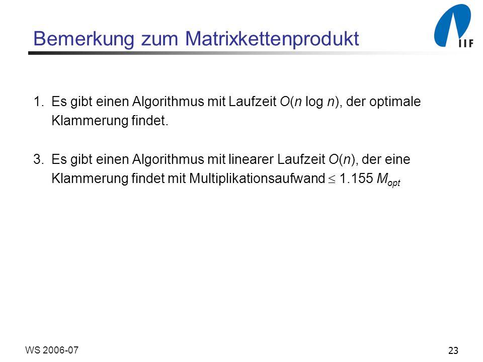 23WS 2006-07 Bemerkung zum Matrixkettenprodukt 1.Es gibt einen Algorithmus mit Laufzeit O(n log n), der optimale Klammerung findet. 3.Es gibt einen Al