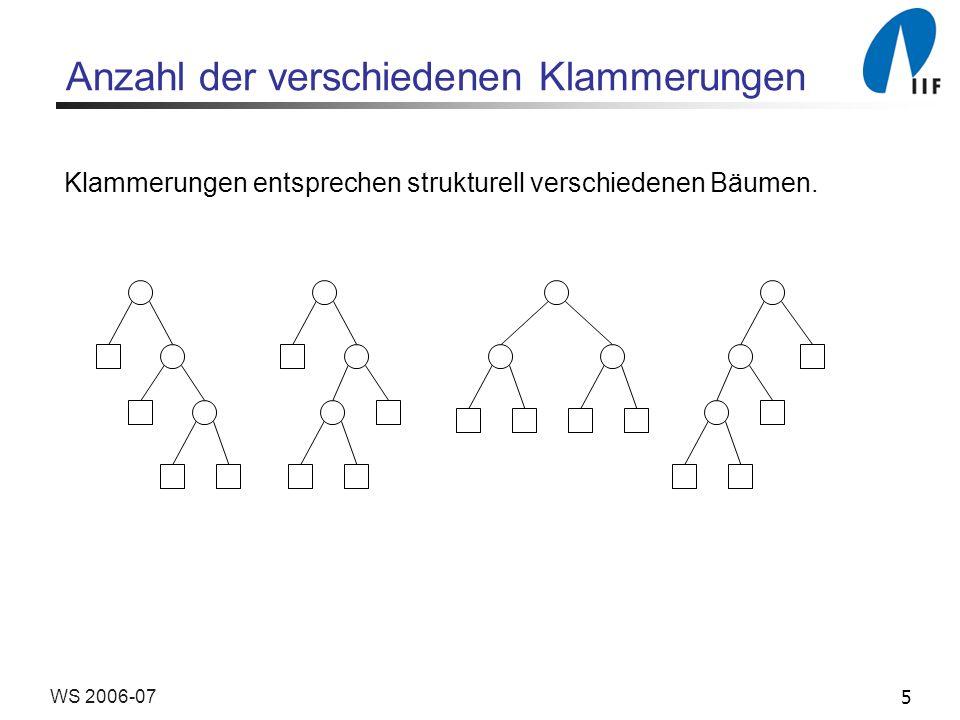 5WS 2006-07 Anzahl der verschiedenen Klammerungen Klammerungen entsprechen strukturell verschiedenen Bäumen.