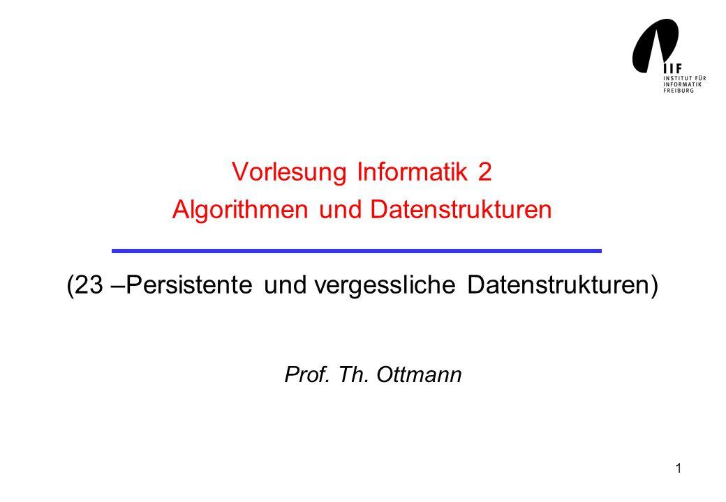1 Vorlesung Informatik 2 Algorithmen und Datenstrukturen (23 –Persistente und vergessliche Datenstrukturen) Prof.