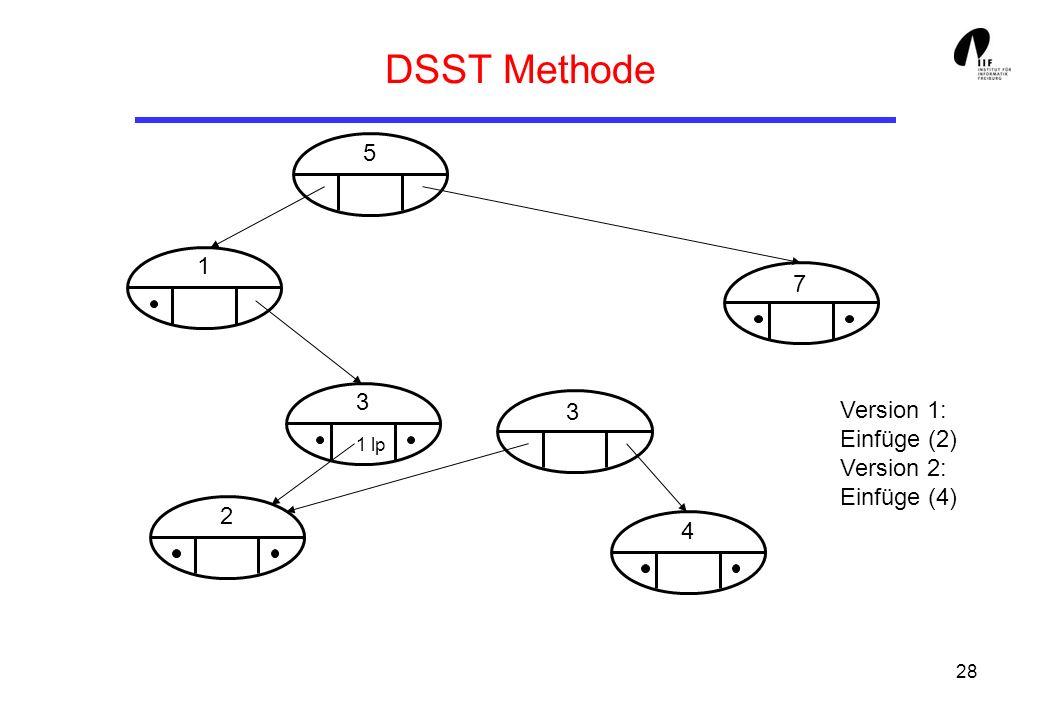 28 DSST Methode 5 1 3 2 3 4 7 1 lp Version 1: Einfüge (2) Version 2: Einfüge (4)
